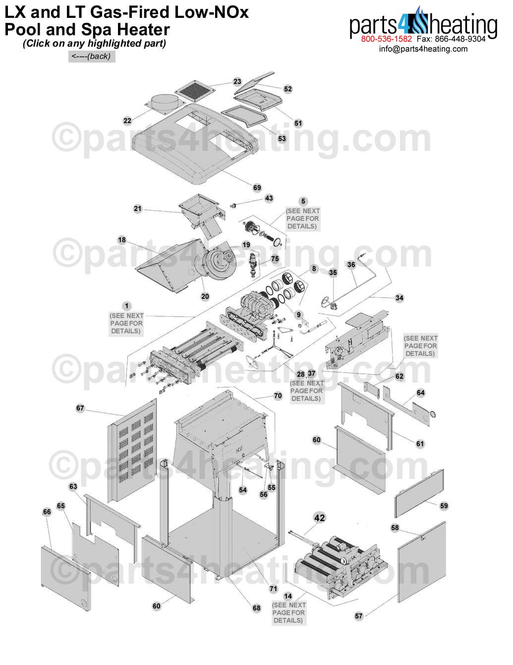 teledyne laars jandy ltlx nox gas heater clickable parts image. Black Bedroom Furniture Sets. Home Design Ideas