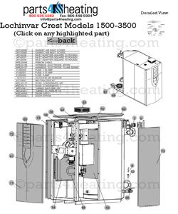 lochinvar hydronic boiler crest fb heater parts fbn2500 fbl2500 fb2500 - Lochinvar Water Heater